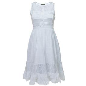 Vestido Sin Mangas Combinado Dama Mujer Blanco 1169 Zoara