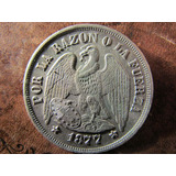 Antigua Moneda Plata Chile Un 1 Peso Aguila 1877 Muy Buena