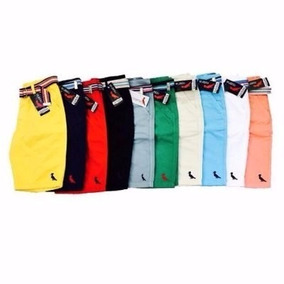 Shorts Bermuda Masculina Jeans Sarja Com Cinto Colorido Res