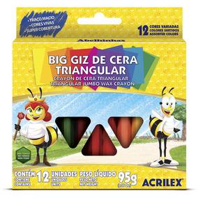Giz De Cera Com 12 Cores Big Triangular - Acrilex