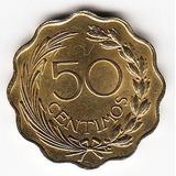 Paraguay 1953 Moneda De 50 Centavos Ondulada L1