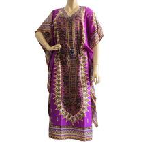 Kaftan Indiana Longo Estampado Bata Vestido Étnico Feminino