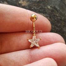 Piercing De Umbigo Star Navel Folheado A Ouro + Caixa +frete