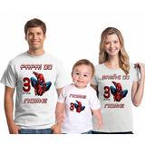 Kit Camisetas Personalizada Aniversário Homem Aranha 3 Unid.