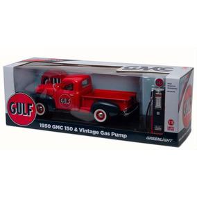 El333 1/18 Gmc 150 Camioneta + Bomba De Gasolina Gulf Oil