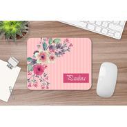 Mousepad Personalizado Flores Y Rayas Con Nombre