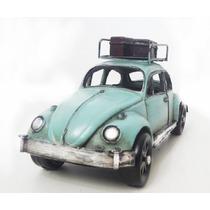 Fusca Miniatura Vintage Retro Azul Ferro 18cm Com Bagageiro