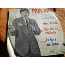 Disco Simple Vinilo C/tapa Paul Anka Algo Ha Cambiado Adan
