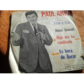 Disco Simple Vinilo C/tapa Paul Anka Algo Ha Cambiado Adan
