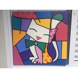 Quadro Gato - Estilo Romero Britto Pintado A Mão