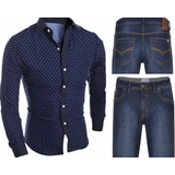 Kit Camisa Social Slim Premium Bolinha + Calça Jeans Slim.
