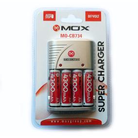 Carregador Mox Com 8 Pilhas Recarregáveis Aa 4300 Mah Cb734