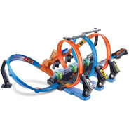 Pista Hot Wheels Espiral De Choques Y Acrobacias + 1 Carrito