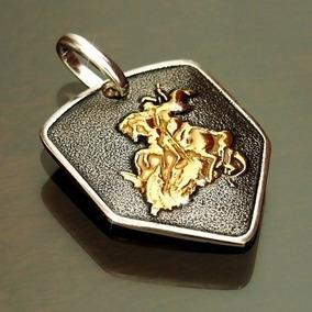 Pingente São Jorge Prata 925 + Banho Ouro Escudo Masculino