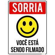 Kit 2 Placas Sorria Você Está Sendo Filmado 18x25cm