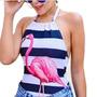 Body Cavado Decote Lateral Flamingo Flamengo Cisne Listrado