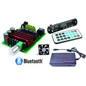 Placa Amplificador 100w + Fonte + Leitor De Usb Bluetooth