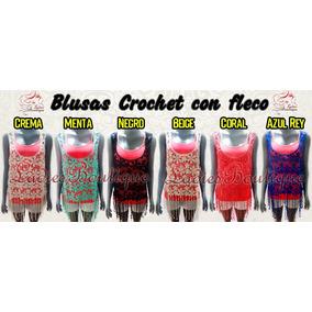 3 Blusas Tejida Crochet Fleco Playero Verano Dama Top Croche