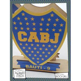 Servilletero Evento Cumple Madera Futbol Escudo Boca Juniors