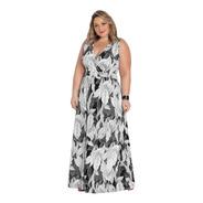 Vestido Plus Size Longo Moda Evangélica Transpassado Solto