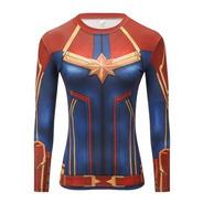 Camiseta De Compresión Manga Larga Para Mujer - Superheroes
