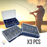 3 Cajas Anzuelos Pesca X 180 Pcs Anzuelo Acero Garra Águila