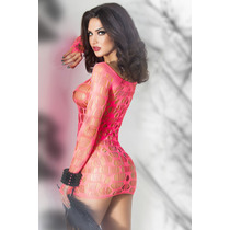 Sexy Vestido Rosa Red Con Mangas Lenceria Table Dance 21540