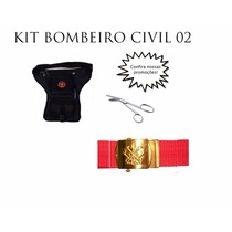 Kit 02 Bombeiro Civil - Pochete/ Cinto/ Tesoura