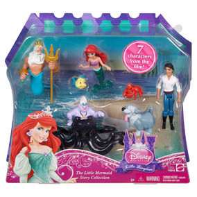 Playset Princesa Ariel Pequena Sereia Com 7 Personagens - M