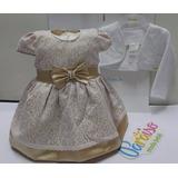 Kit Paraiso Vestido Bebe Menina Cetim + Bolero - Ref 7166