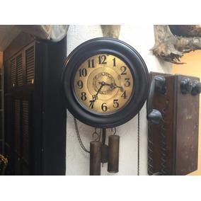Reloj De Pared Cuerda De 1890 Maquina De Madera
