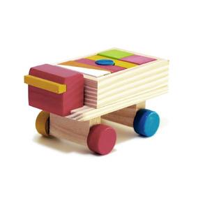 Mini Caminhão Com Car Blocos - Wood Toys