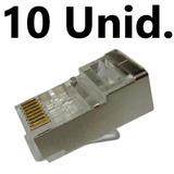 Conector Macho Blindado Plug Rj45 Cat6 Pacote C/ 10 Peças