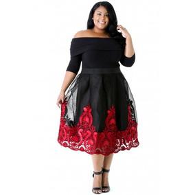 Vestido Fiesta Extra Grande Negro Detalle Rojo Envío Gratis