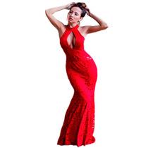 Vestido De Festa Longo Vermelho Em Renda Moda Festa Madrinha