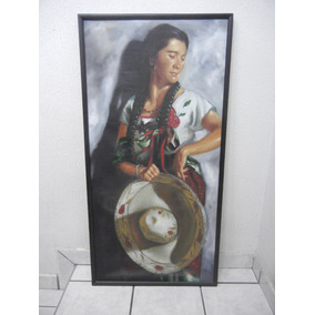 Pintura Al Oleo Enmarcada De Mujer Vestida De Charro