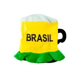 77e2f5394d8b9 Chapéu Pano Chopp Verde E Amarelo Jogo Brasil Copa Torcida
