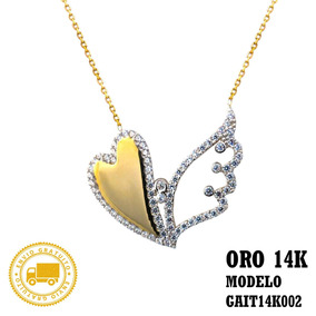Gargantilla Oro 14 Kilates Amarillo Dije Corazon Con Alas