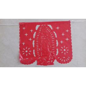 Papel Picado Plast Virgen De Guadalupe Tricolor Paq 30 Tiras
