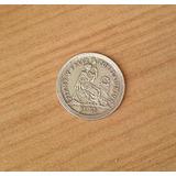 Rara Moneda Medio Real De Plata 1860 Perú
