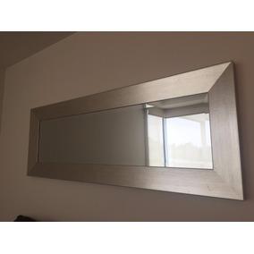 espejo rectangular marco plateado