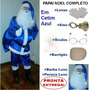 Kit Fantasia Papai Noel Azul - Roupa De Papai Noel Cetim U8