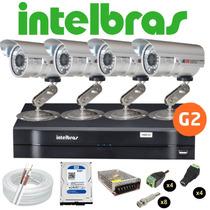 Kit Cftv 4 Cameras Infra Dvr 4 Canais Intelbras G2 C/ Hd
