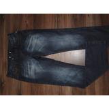 Calça Jeans 2 Botoes Com Detalhe Couro Bolsos