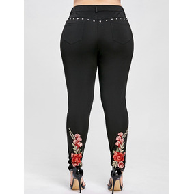 Más Tamaño Floral Bordado Remache Lápiz Pantalones