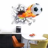 Adesivo Infantil Parede Bola De Futebol Buraco 3d