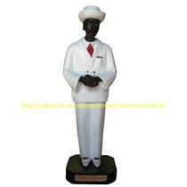 Escultura Zé Pilintra Imagem 60cm Terno Branco Estatua Gesso