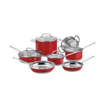 Conjunto De Panelas Em Aço Inox Vermelho Classic Cuisinart C