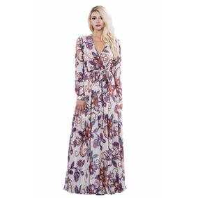 Maxi Vestido Ark & Co. Beige Con Estampado Multicolor