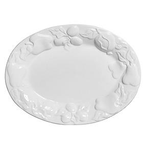 Travessa De Cerâmica Caju Garden Scalla Branco 40 X 29 Cm -